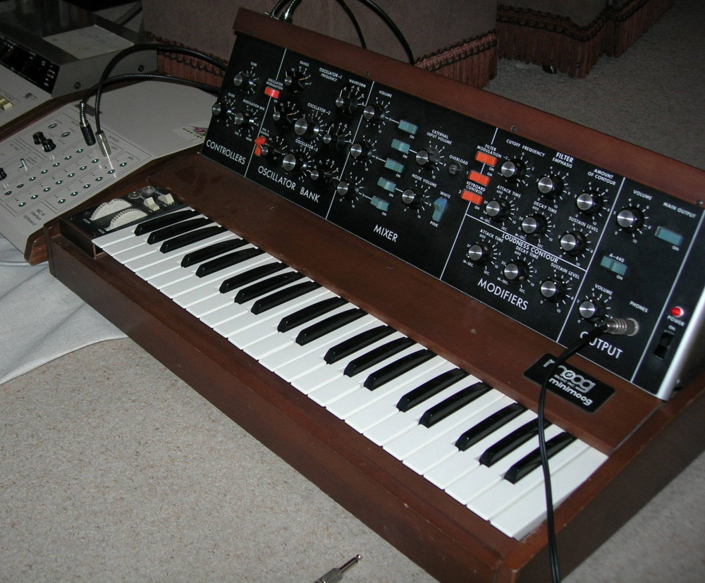 My MiniMoog being used to test a Roland MC8 I had just repaired